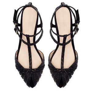 Zara Black Glitter Ankle Strap Flats